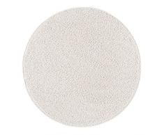 misento 292181 Hochflorteppich Shaggy, 100 cm rund, crème / weiss