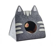 HUNTER LILLE Katzenhöhle, Katzenbett, Schlafplatz für Katzen, mit Katzenspielzeug, 50 x 35 x 55 cm, anthrazit