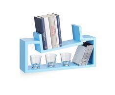 Relaxdays Wandregal 2er Set, modernes Design, Wandboard Holz, Gewürzregal hängend, Regalbrett, schiefe U-Form, blau