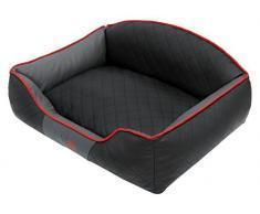 HobbyDog XXLELICZG10 Hundebett/Sofa / Korb Elite mit Kunstleder, schwarz/Graphit, XXL, 110 x 85 x 30 cm