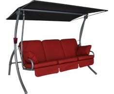 Angerer Primero Premium Hollywoodschaukel Leder, Rot, 3-Sitzer