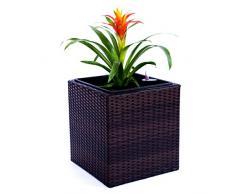 Pflanzkübel Blumenkübel Blumentopf Polyrattan Quadrat LxBxH 30x30x30cm Coffee braun