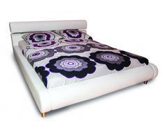 ANGIE Modernes Doppelbett mit Metallzubehör, Weiß, 160 x 200cm