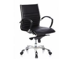 hjh OFFICE 660502 Bürostuhl Chefsessel PARMA 10 Leder schwarz, Designklassiker, hochwertige Verarbeitung, mittelhohe Rückenlehne, Schreibtischstuhl ergonomisch, Büro Sessel, Drehstuhl,