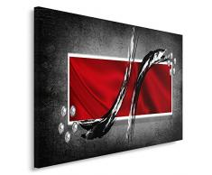 Feeby, Wandbild - 1 Teilig - 70x100 cm, Leinwand Bild Leinwandbilder Bilder Wandbilder Kunstdruck, ABSTRAKTION, ROT, SCHWARZ, GRAU
