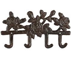 Esschert Design Hänger 4 Haken in Rosenoptik, aus Gusseisen, 27,2 x 3 x 15,5 cm, Gardarobenhaken, 4er Hakenleiste mit Montagelochung