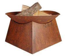 Esschert Design Feuerschale, Feuerstelle auf Sockel, Rostbraun, Ø 57 cm x 33 cm hoch