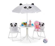Relaxdays Camping Kindersitzgruppe, Kindersitzgarnitur mit Sonnenschirm, Panda Motiv, für Camping, Strand & Garten, weiß