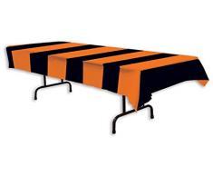 Beistle 00104 Tischdecke, gestreift, 137 x 274 cm, Orange/Schwarz