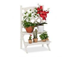 Relaxdays Blumentreppe mit Rankgitter, Blumenregal m. 2 Stufen, Pflanzentreppe Holz f. Blumen, 89 x 51,5 x 38,5 cm, weiß
