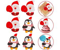 Whaline 100 Stück Weihnachtskarten Weihnachtsmann Pinguin Zuckerbrot Süßigkeitenhalter Schokoladenpapier Karte Weihnachtspaket Party Geburtstag Hochzeit Dekoration (nicht im Lieferumfang enthalten).