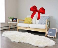 Doppellagiger Kunstfellteppich mit langem Fell, handgefertigt, Bettläufer, Überwurf, Teppich für Sitzgelegenheit, Couch-Bezug, elfenbeinfarben