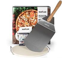 Rustler Pizzastein-/ Brotbackstein ø38 cm mit Edelstahl-Gestell + Pizzaschieber aus Edelstahl   für Pizza, Flammkuchen & Brot   für Backöfen, Holzkohle- und Gasgrills geeignet   in Geschenkverpackung
