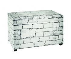 Haku-Möbel 30967 Sitztruhe, Lederimitat, weiß/grau, 40 x 65 x 42 cm