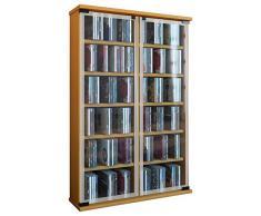 VCM Regal DVD CD Rack Medienregal Medienschrank Aufbewahrung Holzregal Standregal Schrank Möbel Buche Galerie