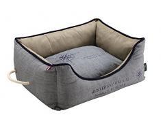HUNTER List Hundesofa, maritim, wasserabweisend, schmutzabweisend, antibakteriell, Wendekissen, 100 x 70 cm, grau/blau