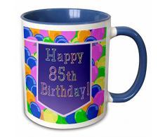 3dRose 174850_6 Luftballons mit violettem Banner Happy 85th Birthday, zweifarbig, 325 ml, Blau