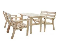 Ambientehome Garten Loungegruppe Sitzgruppe Essgruppe Massivholz HANKO, Natur, 4-teiliges Set