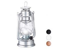 Relaxdays Sturmlaterne LED, Retro Sturmlampe als Fensterdeko oder elektrische Gartenlaterne, batteriebetrieben, Silber