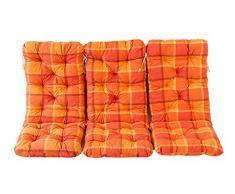 Ambientehome 3er Set Hochlehner Auflage Kissen Hanko Maxi, kariert orange, ca 120 x 50 x 8 cm, Rückenteil ca 70 cm, Polsterauflage