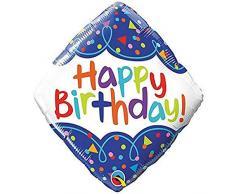 Qualatex Folienballon 49093 Geburtstag Scribble Konfetti, 45,7 cm farbenreiche