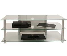 VCM TV Rack Lowboard Konsole LCD LED Fernsehtisch Möbel Bank Glastisch Tisch Schrank Aluminium Klarglas Netasa