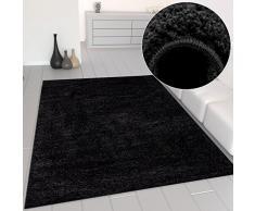 VIMODA Prime Shaggy Teppich Schwarz Hochflor Langflor Teppiche Modern für Wohnzimmer Schlafzimmer, Maße:Ø 80 cm Rund