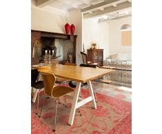 benuta Flachgewebe Teppich Frencie Flora Rot 80x165 cm   Pflegeleichter Teppich für Flur und andere Wohnräume