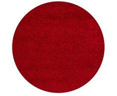 Lalee 347168491 Hochflor Shaggy Teppich / Langflor / Uni / TOP Preis / Rot / Grösse : 120 x 120 cm RUND