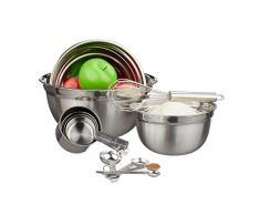 Relaxdays Küchen Set 12-tlg., 3 Rührschüsseln, Messlöffel & Messbecher, Schneebesen, Edelstahl, Küchenutensilien, silber