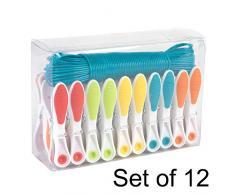 Beldray COMBO-5788 Wäscheleine mit Wäscheklammern für Außen-und Innenbereich, 12 Sets Ideal für Studentenheime, Hotels & Wohnwagen, plastik