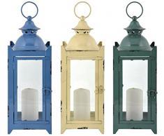 Esschert Design Laterne in 3 Farben M aus Eisen und Glas,14,5 x 15,4 x 38,6 cm