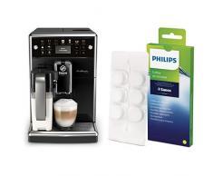 Saeco SM5570/10 PicoBaristo Deluxe Kaffeevollautomat (LED Display, integriertes Milchsystem) schwarz & Philips CA6704/10 Kaffeefettlöser, 6 Tabletten für Philips, Saeco und andere Kaffeevollautomaten