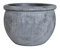 Dehner Blumentopf Bimssteinoptik, Ø 55 cm, Höhe 42 cm, Kunststoff, grau