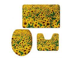 HUGSIDEA niedliche Tiere 3-teiliges Badezimmer Teppich Set Badteppich Contour und WC-Deckelbezug, Flanell, Sunflower 2, S