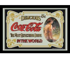 empireposter - Coca Cola - Retro - Größe (cm), ca. 40x30 - Maxi-Spiegel, NEU - Beschreibung: - Bedruckter Wandspiegel mit schwarzem Kunststoffrahmen in Holzoptik -