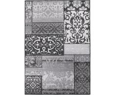 Kurzflorteppich Teppichläufer Orientteppich Vintage Patchwork Orientalisches Muster Used Look– Wohnzimmerteppich Schlafzimmer Flurläufer – Oeko Tex 100 pflegeleicht umkettelt – 80cm x 150cm grau