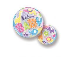 Qualatex 25898 Luftballon BUBBLE - WELCOME Babytiere, 56 cm, mehrfarbig