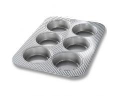 USA Pan Bakeware aluminisierten Stahl Cupcake und Muffin Pfanne Mini-Kuchen - 6 Formen 15-3/4 by 11 metall