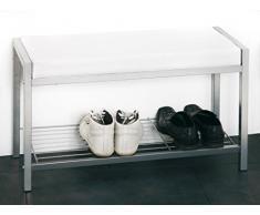 HAKU Möbel 90350 Bank 80 x 32 x 48 cm, alu / weiß
