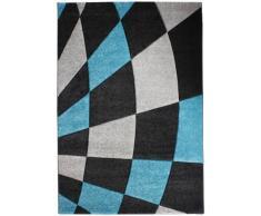 Andiamo 1100209 Teppich Carreaux, Webteppich, 120 x 170 cm, Karo, schwarz / türkis