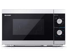 SHARP YC-MG01ES Mikrowelle mit Grillfunktion/ 800 Watt/ 20 Liter/ 5 Leistungsstufen/Timer-Funktion/Inkl. Drehteller, mechanische Steuerung