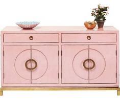 Kare Sideboard Disk Pink, 82771, rosane, breite Kommode, Schrank mit 2 Doppeltüren und 2 Schubladen für Wohnzimmer, pinkes Vintage TV Sideboard, (H/B/T) 84 x 150 x 50 cm