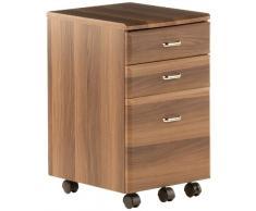 hjh OFFICE 673802 Rollcontainer EKON wallnuss, inkl. 3 Schübe, grundsolide Verarbeitung, optimal für Schreibtisch, Büromöbel, Schreibtisch Container, Rollkontainer Büro, Rollkontainer mit Schubladen