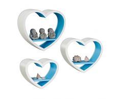Relaxdays Wandregal Herz 3er Set, romantische Herzform Dekoregale, schwebende Wandablage bis 6 kg belastbar, weiß-blau