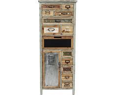Kare Design Goa, schmale, hohe Kommode in Shabby Chic Vintage-Optik mit 13 Schubladen, Braun (H/B/T) 127x49,5x32,5cm