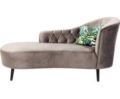 Kare 83591 Design Chaiselongue Julietta Grau, Recamiere Samt, Liege, Sofaliege, Daybed, Relaxliege, Bank, (H/B/T) 90x185x76cm