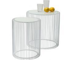 Kare Design Beistelltisch Wire White 2er Set, runder, moderner Glastisch, kleiner Couchtisch, Kaffeetisch, Nachttisch, Weiß (H/B/T) 42,5xØ32,5cm & 45xØ44cm