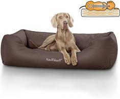 Knuffelwuff Orthopädisches Hundebett Madison aus Laser gestepptem Kunstleder waschbar Hunde ortho bed Hundesofa Hundekorb Hundekörbchen orthopädisch memory M-L 85 x 63cm Braun