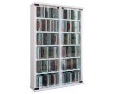 VCM Regal DVD CD Rack Medienregal Medienschrank Aufbewahrung Holzregal Standregal Schrank Möbel Bluray Weiß Galerie